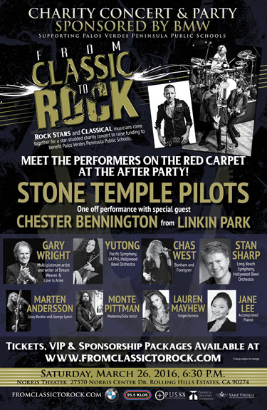 "From Classic to Rock"", a star-studded event to benefit Palos Verdes Peninsula public schools on March 26, 2016 at the Norris Theater and Pavilion in Rancho Palos Verdes, California."