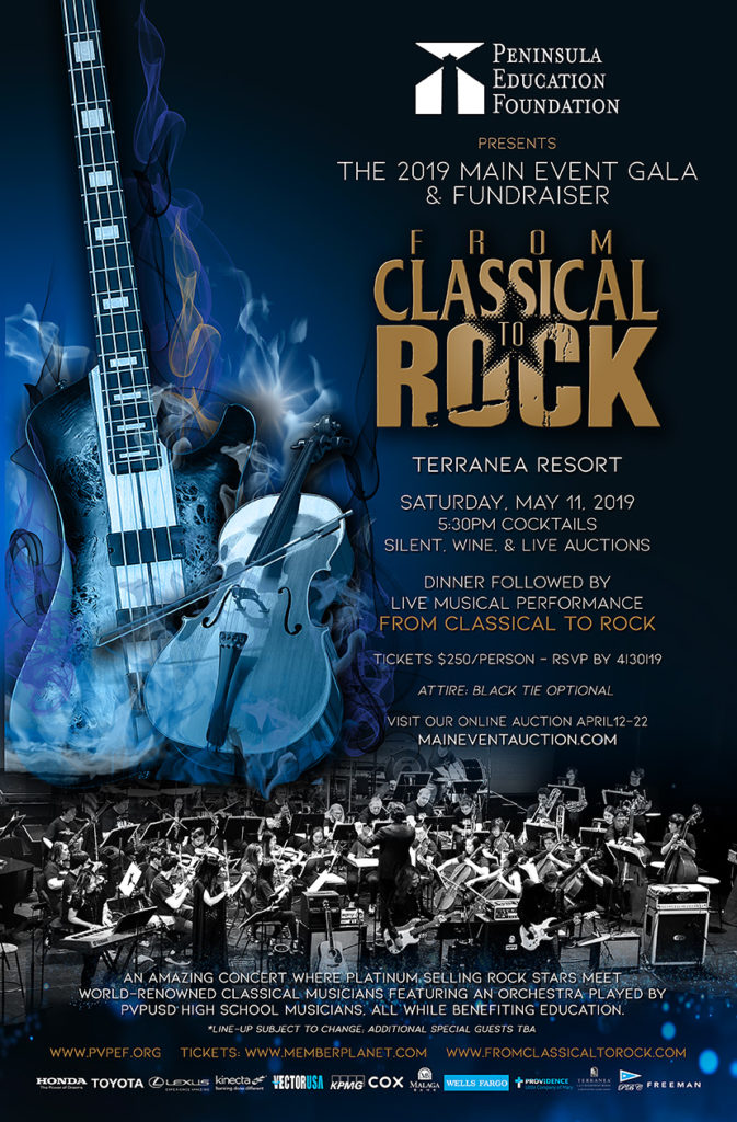 From Classical to Rock to headline PEF Fundraiser benefiting education – Featuring members from LA Philharmonic, Steelheart, Ex Korn, Ex Megadeth, Stone Temple Pilots, Pacific Symphony, Ex Anthrax, Lynch Mob, Prong and more.
