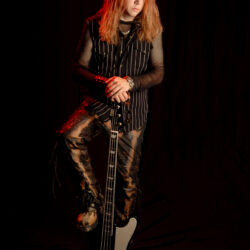 Autographed And Personalized Marten Andersson (Lizzy Borden Era) Color Publicity Photo with ESP Bass